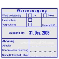 Warenausgangsstempel-Ware vollständig-Lieferschein-Verpackung-Abholung-Unterschrift-Kennzeichen Fahrzeug • Trodat Professional 54110 •
