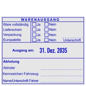 Warenausgangsstempel-Ware vollständig-Lieferschein-Verpackung-Europalette-Unterschift • Trodat Professional 54110 •