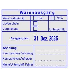 Warenausgangsstempel-Ware vollständig-Lieferschein-Verpackung-Unterschrift-Kennzeichen Fahrzeug-Kennzeichen Auflieger • Trodat Professional 54110 •