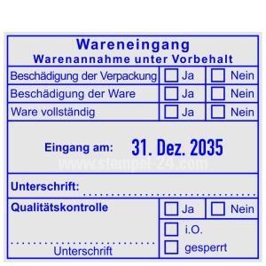 Stempel Wareneingangsstempel Warenannahme unter Vorbehalt Qualitätskontrolle • Trodat Professional 54110 •
