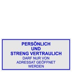 Stempel Persönlich und Streng Vertraulich darf nur von Adressat geöffnet werden • Trodat Professional 5204 •