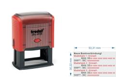 IBAN SWIFT Neue Bankverbindung Stempel für 3. Bankverbindungen • Trodat Printy 4928 •