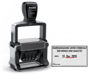 Stempel Warenannahme Menge und Qualität erhalten am • Trodat Professional 5460 •