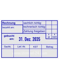 Rechnungstempel Zahlung freigegeben Sachkonto-Leiferantennummer-Kostenstelle-Betrag • Trodat Professional 5474 •