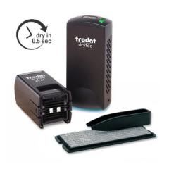 Trodat Dryteq 4921 TYPO Stempelset mit Stempel, UV-Härtungsgerät, 3x UV-Ersatzkissen mit Textplatte zum Selbersetzen