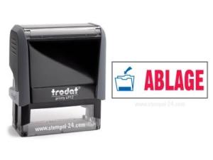 Trodat Office Printy 4912 ABLAGE mit roten Schriftzug und blauen Symbol
