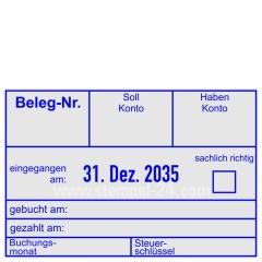 Buchungsstempel Beleg-Nummer Soll-Konto Haben-Konto gebucht • Trodat Professional 5474 •