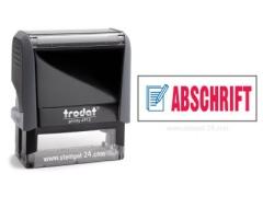 Trodat Office Printy 4912 ABSCHRIFT mit roten Schriftzug und blauen Symbol